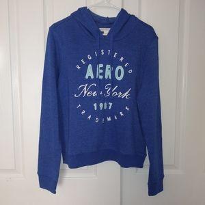 Womens Aeropostale Logo Blue Hoodie Sweaters